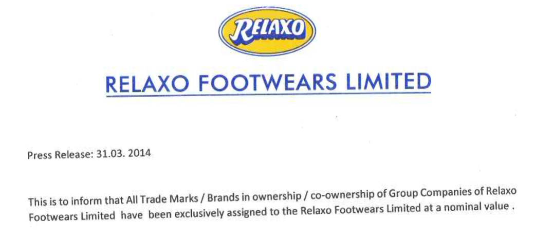 Relaxo Brand Transfer Snapshot